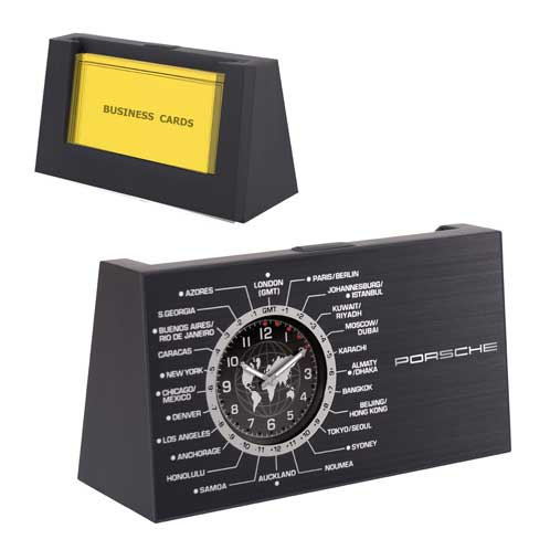 DA-4540-BK - World Time Clock with Business Card Holder